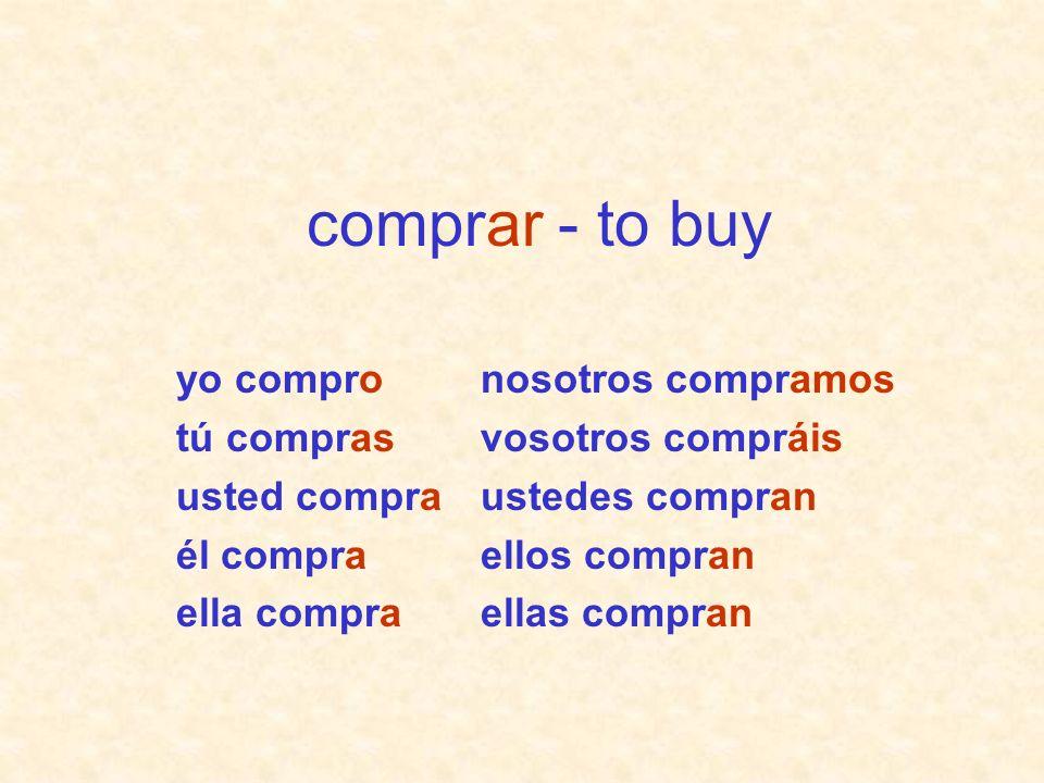 comprar - to buy yo compro tú compras usted compra él compra