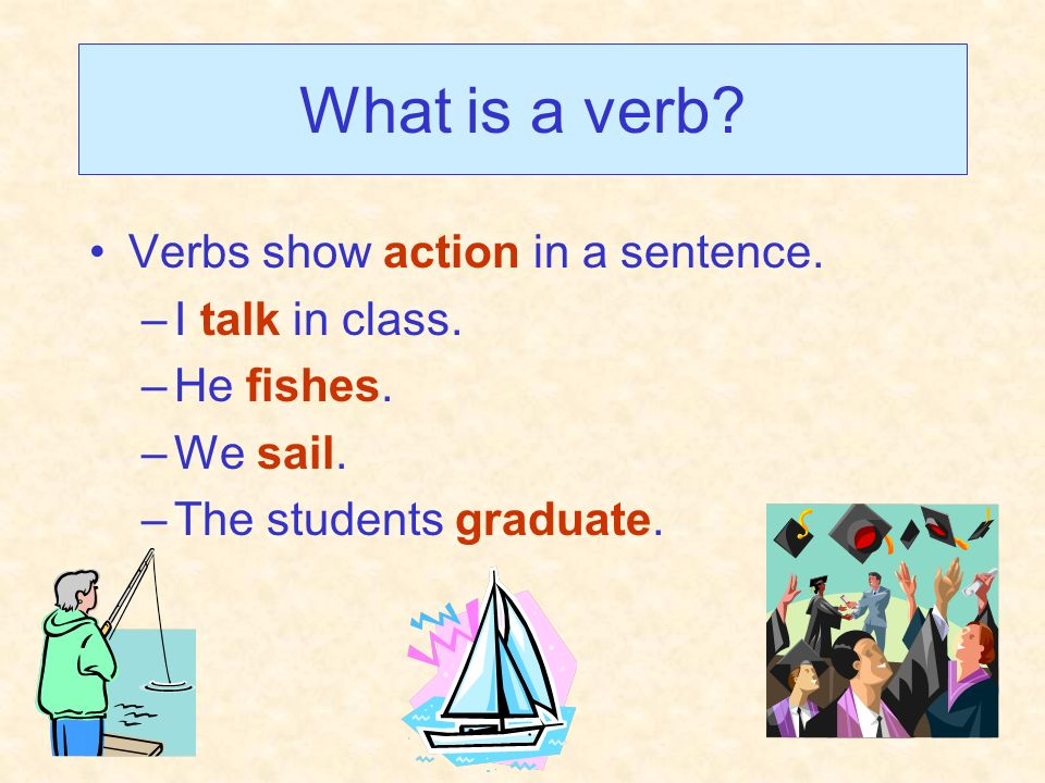 What is a verb Verbs show action in a sentence. I talk in class.