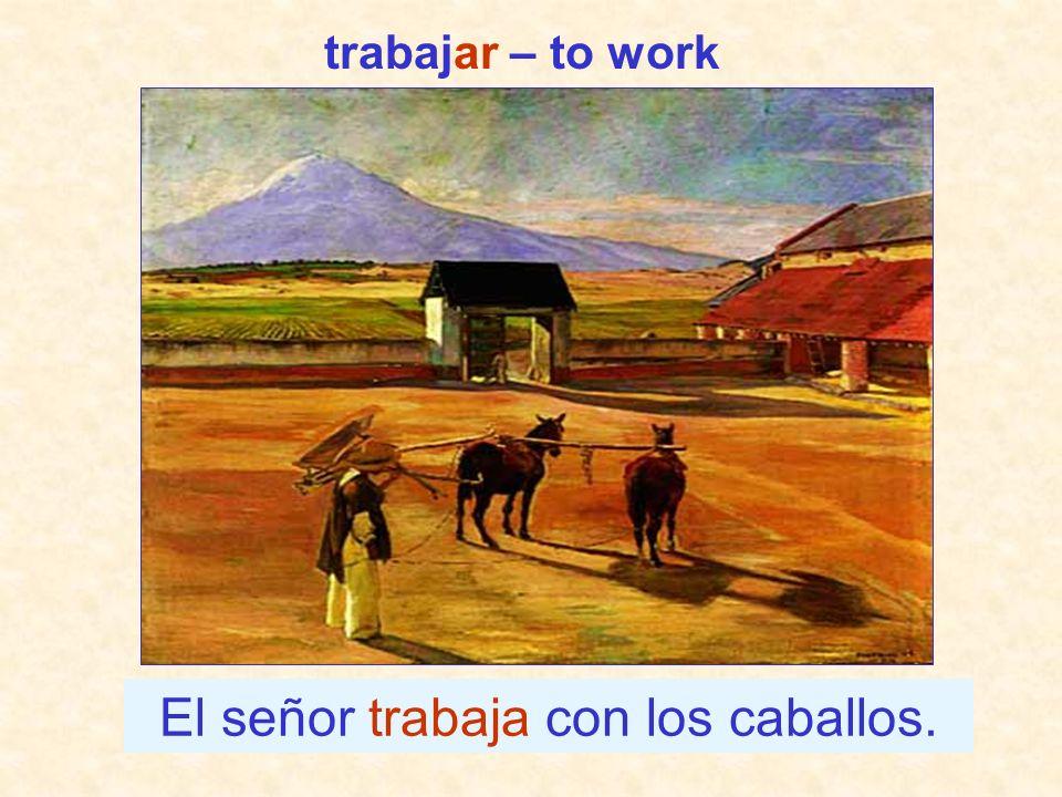 El señor trabaja con los caballos.