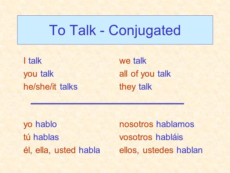 To Talk - Conjugated I talk you talk he/she/it talks we talk