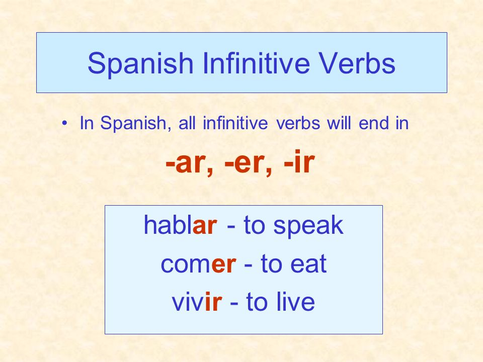 Spanish Infinitive Verbs
