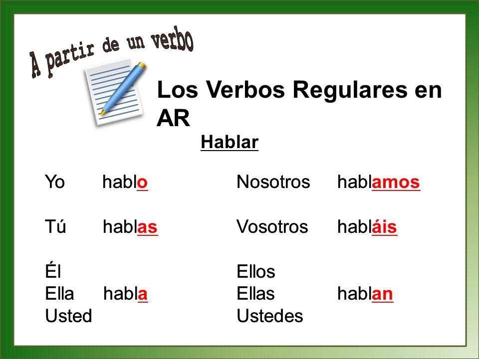 A partir de un verbo Los Verbos Regulares en AR Hablar