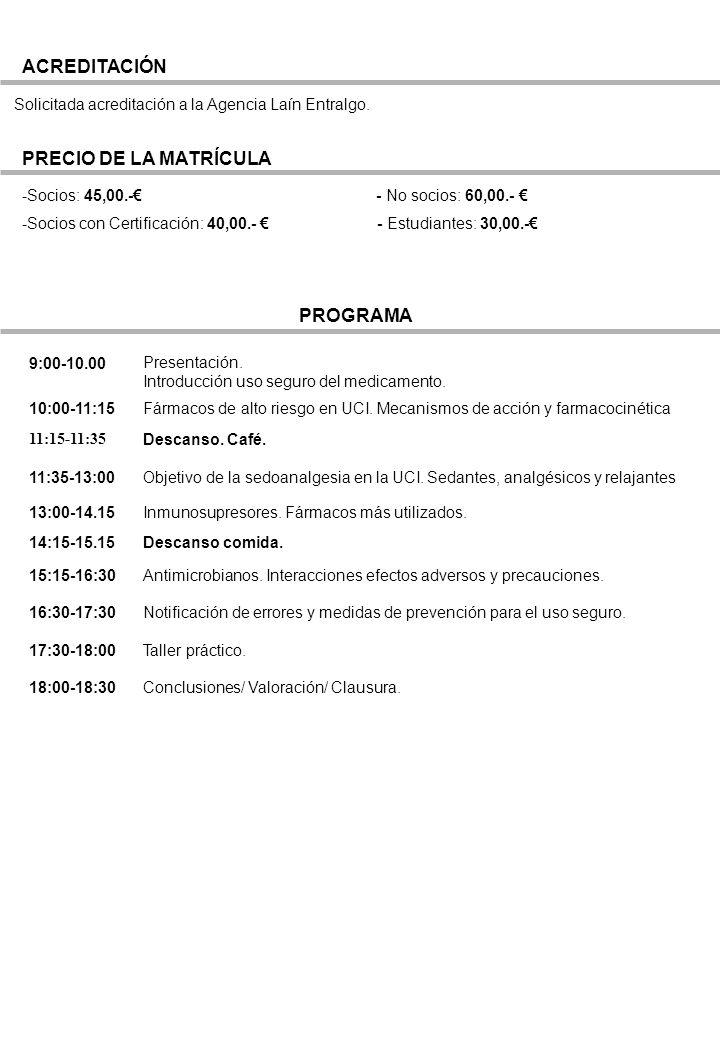ACREDITACIÓN PRECIO DE LA MATRÍCULA PROGRAMA