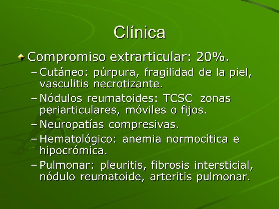 Clínica Compromiso extrarticular: 20%.