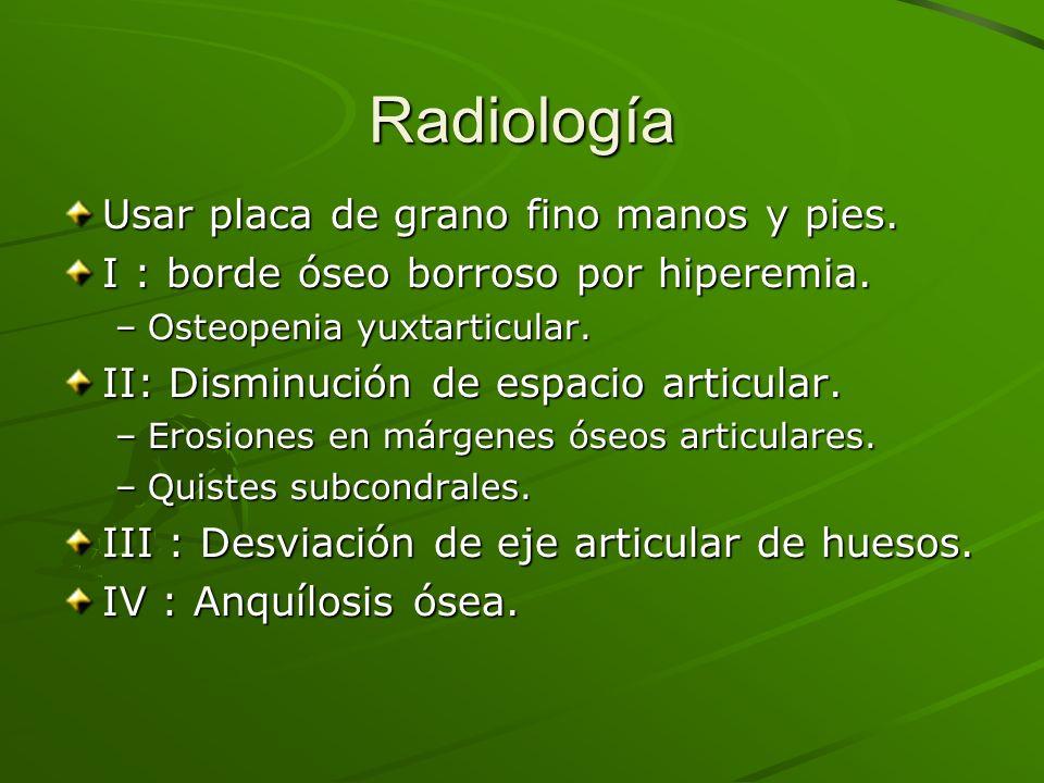 Radiología Usar placa de grano fino manos y pies.