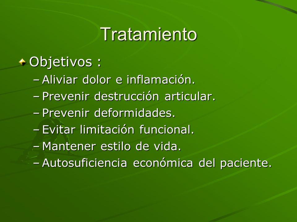 Tratamiento Objetivos : Aliviar dolor e inflamación.