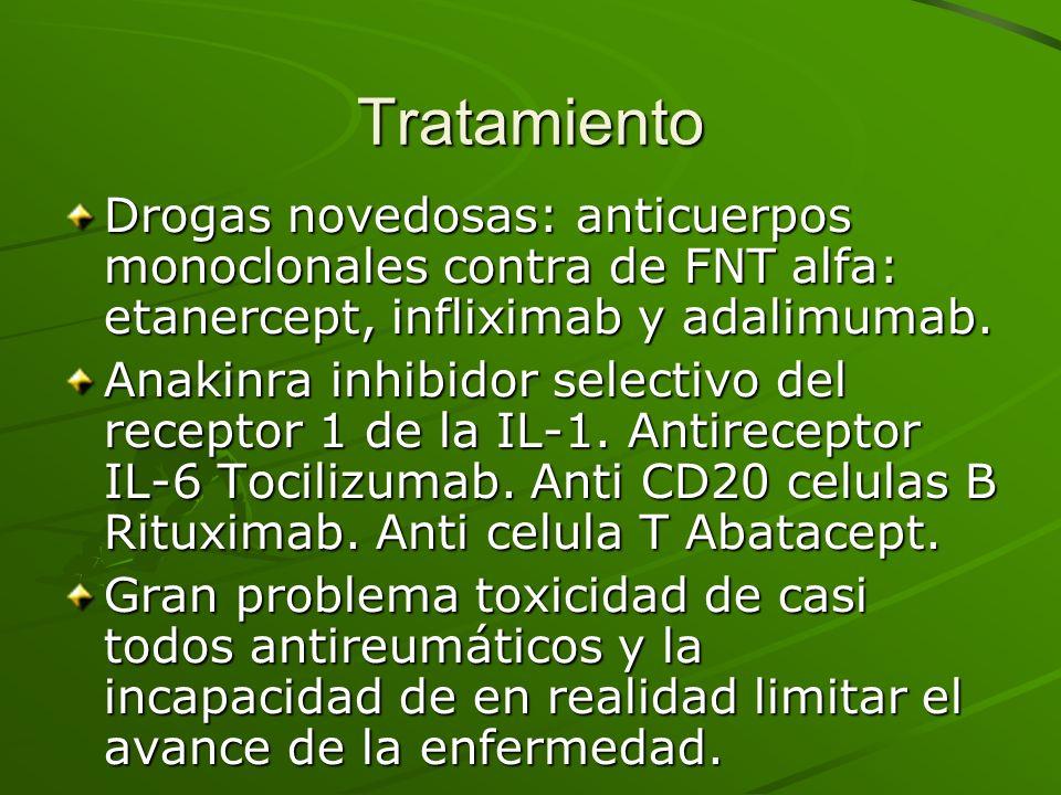 TratamientoDrogas novedosas: anticuerpos monoclonales contra de FNT alfa: etanercept, infliximab y adalimumab.