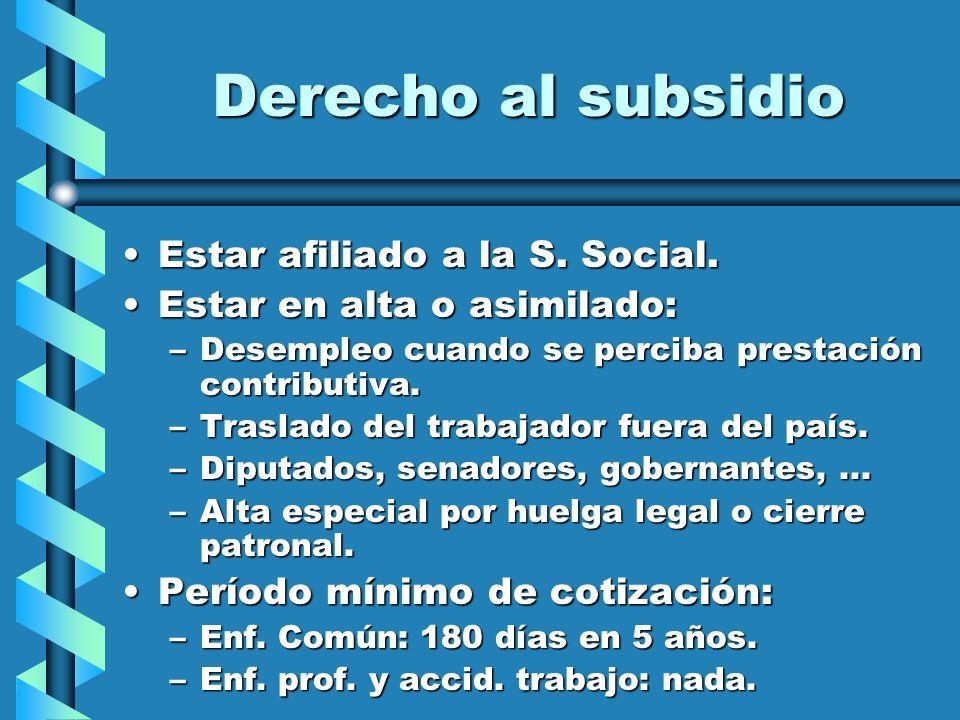 Derecho al subsidio Estar afiliado a la S. Social.