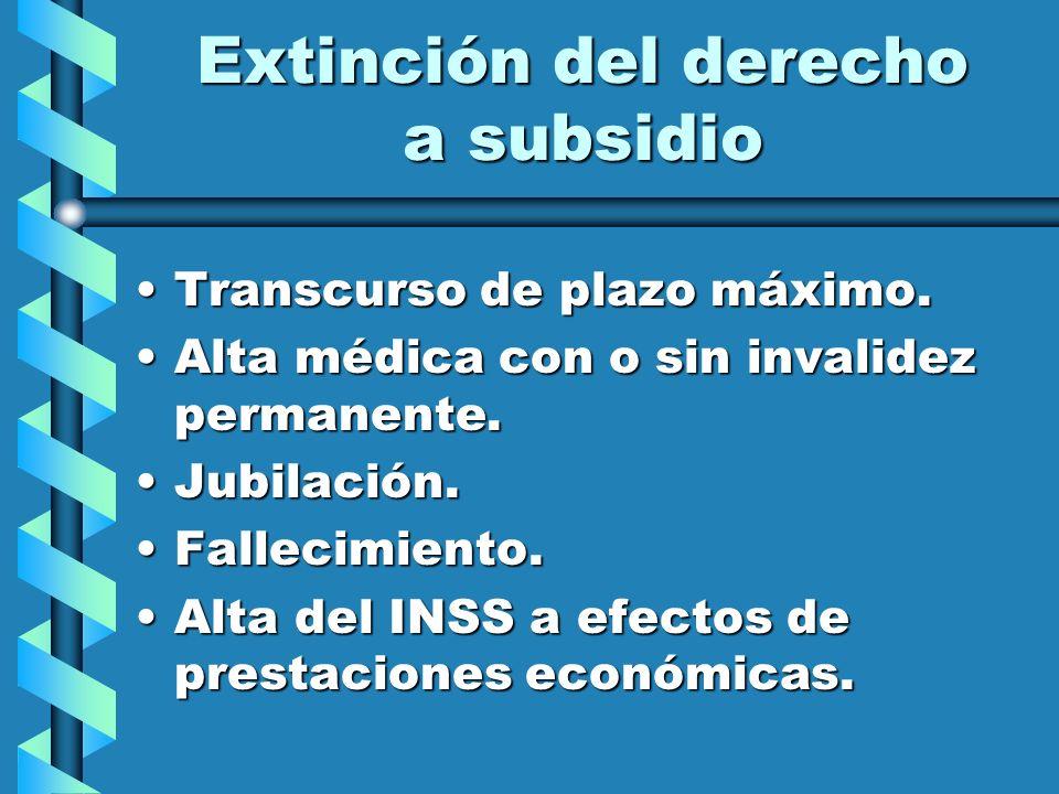 Extinción del derecho a subsidio