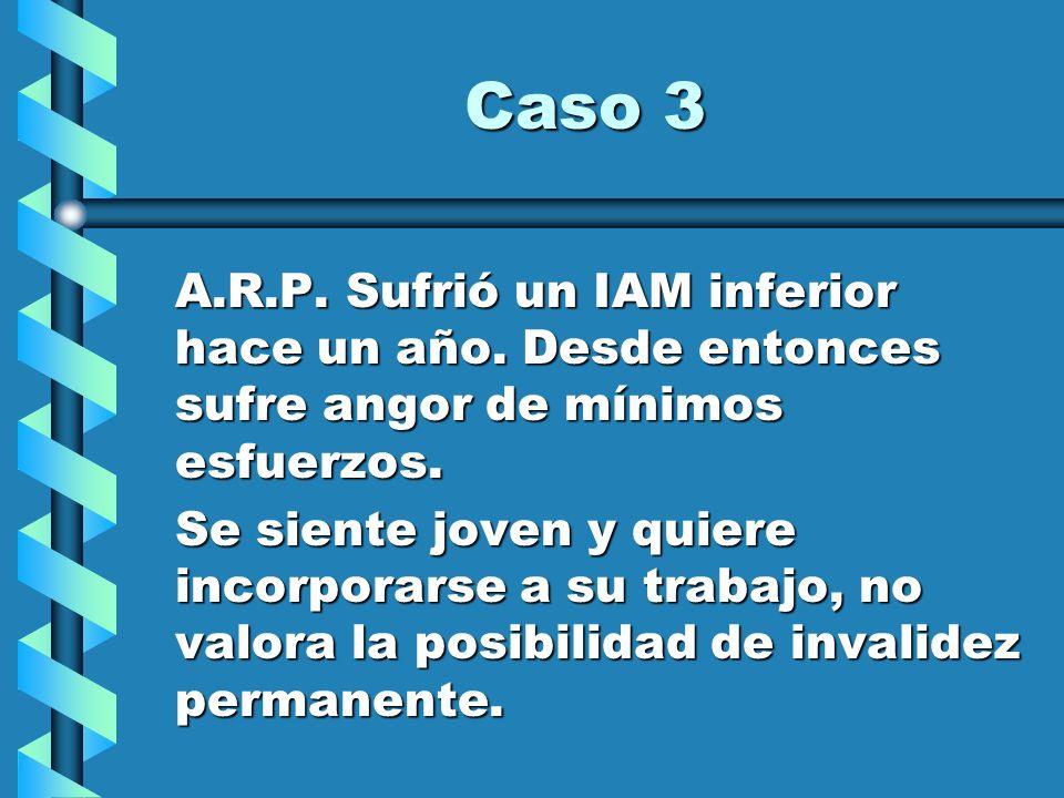 Caso 3 A.R.P. Sufrió un IAM inferior hace un año. Desde entonces sufre angor de mínimos esfuerzos.