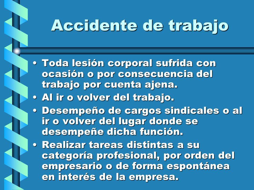 Accidente de trabajo Toda lesión corporal sufrida con ocasión o por consecuencia del trabajo por cuenta ajena.
