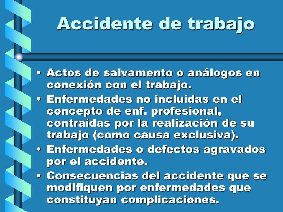 Accidente de trabajo Actos de salvamento o análogos en conexión con el trabajo.