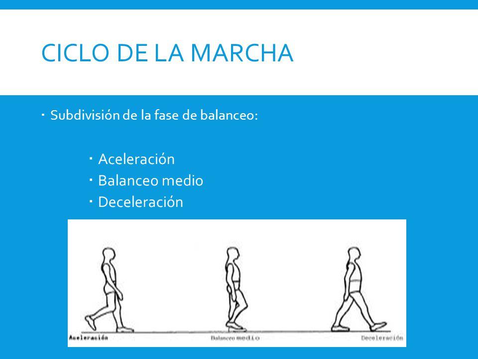 CICLO DE LA MARCHA Aceleración Balanceo medio Deceleración
