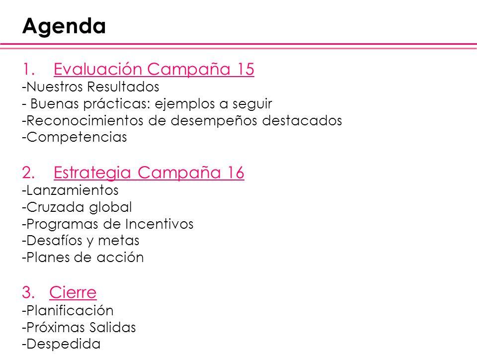 Agenda Evaluación Campaña 15 Estrategia Campaña 16 3. Cierre