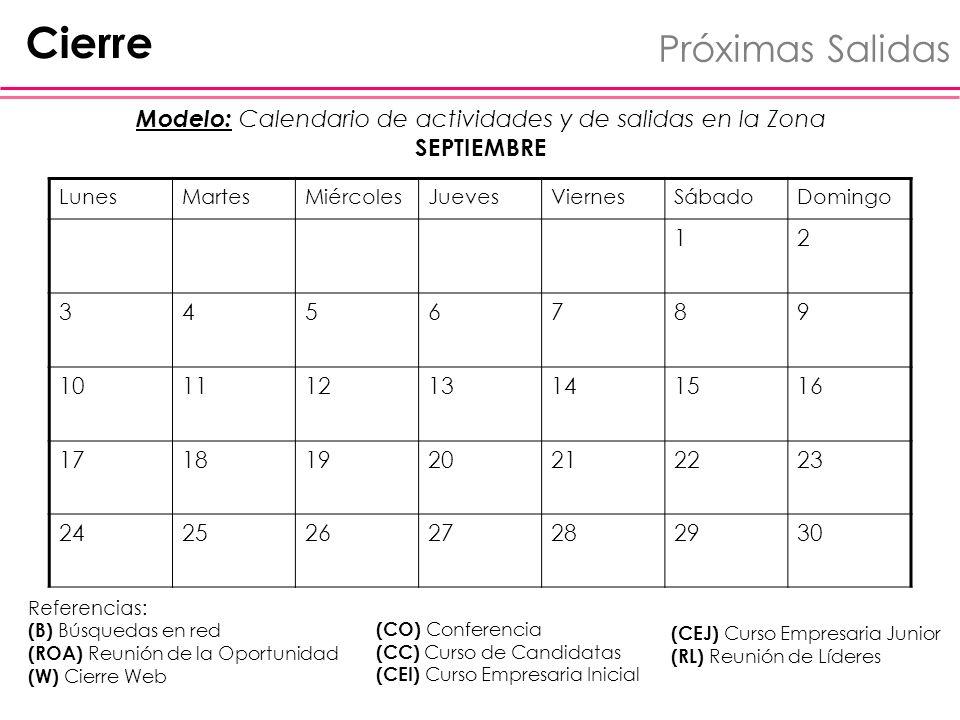 Modelo: Calendario de actividades y de salidas en la Zona SEPTIEMBRE