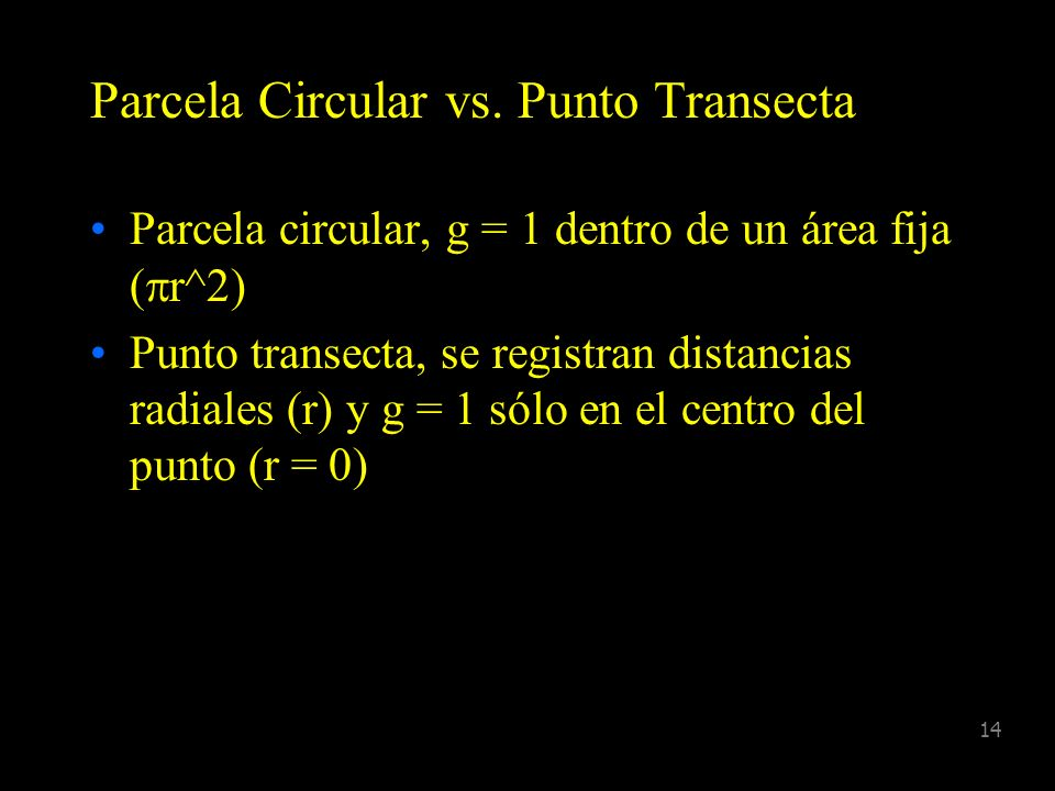 Parcela Circular vs. Punto Transecta