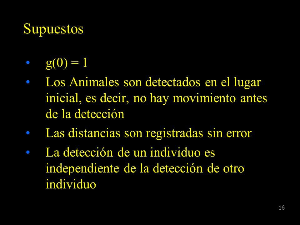 Supuestos g(0) = 1. Los Animales son detectados en el lugar inicial, es decir, no hay movimiento antes de la detección.