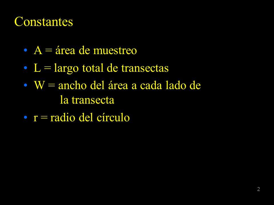 Constantes A = área de muestreo L = largo total de transectas