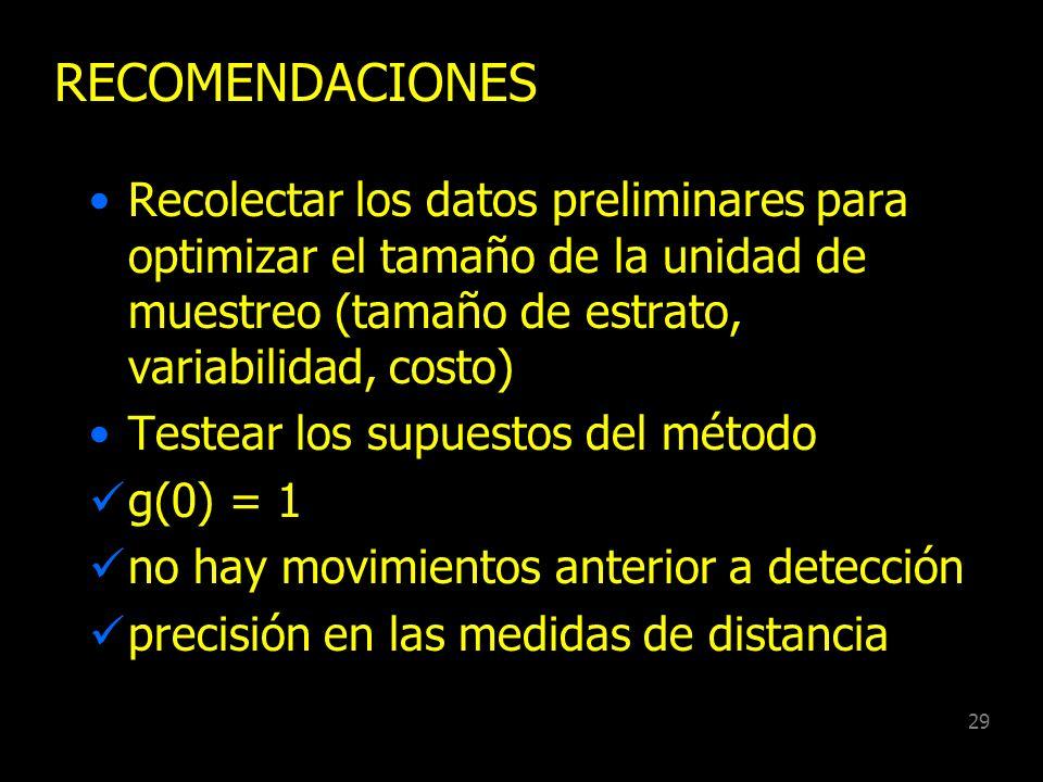 RECOMENDACIONES Recolectar los datos preliminares para optimizar el tamaño de la unidad de muestreo (tamaño de estrato, variabilidad, costo)