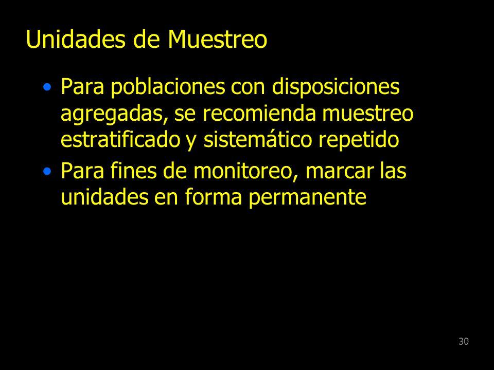 Unidades de MuestreoPara poblaciones con disposiciones agregadas, se recomienda muestreo estratificado y sistemático repetido.