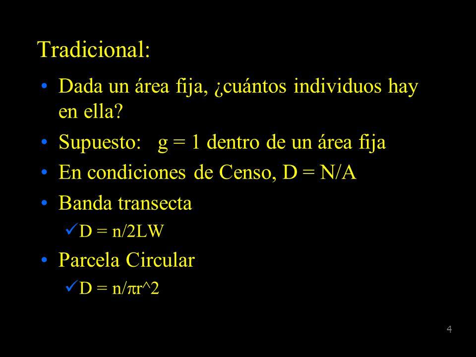 Tradicional: Dada un área fija, ¿cuántos individuos hay en ella