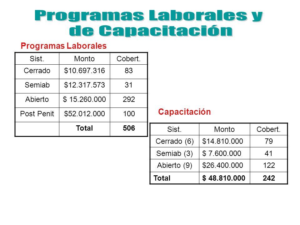 Programas Laborales y de Capacitación Programas Laborales Capacitación