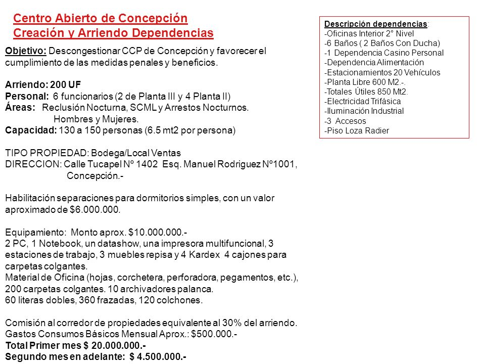 Centro Abierto de Concepción Creación y Arriendo Dependencias