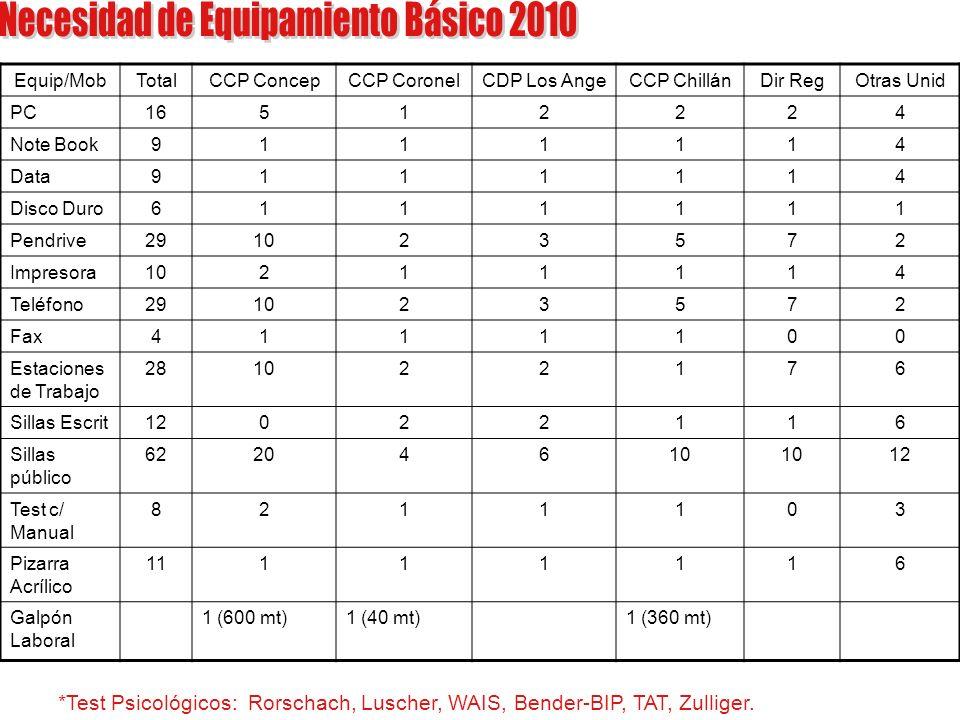 Necesidad de Equipamiento Básico 2010