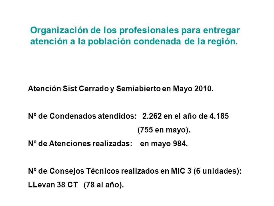 Organización de los profesionales para entregar atención a la población condenada de la región.
