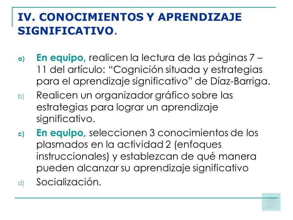 IV. CONOCIMIENTOS Y APRENDIZAJE SIGNIFICATIVO.