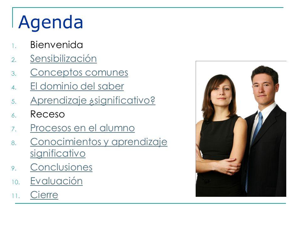 Agenda Bienvenida Sensibilización Conceptos comunes