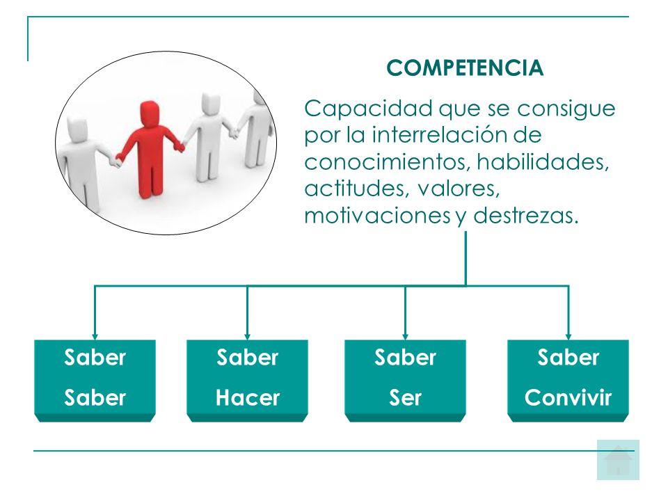 COMPETENCIA Capacidad que se consigue por la interrelación de conocimientos, habilidades, actitudes, valores, motivaciones y destrezas.