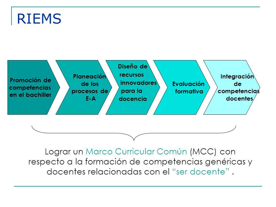 RIEMS Promoción de. competencias. en el bachiller. Planeación. de los. procesos de. E-A. Diseño de.