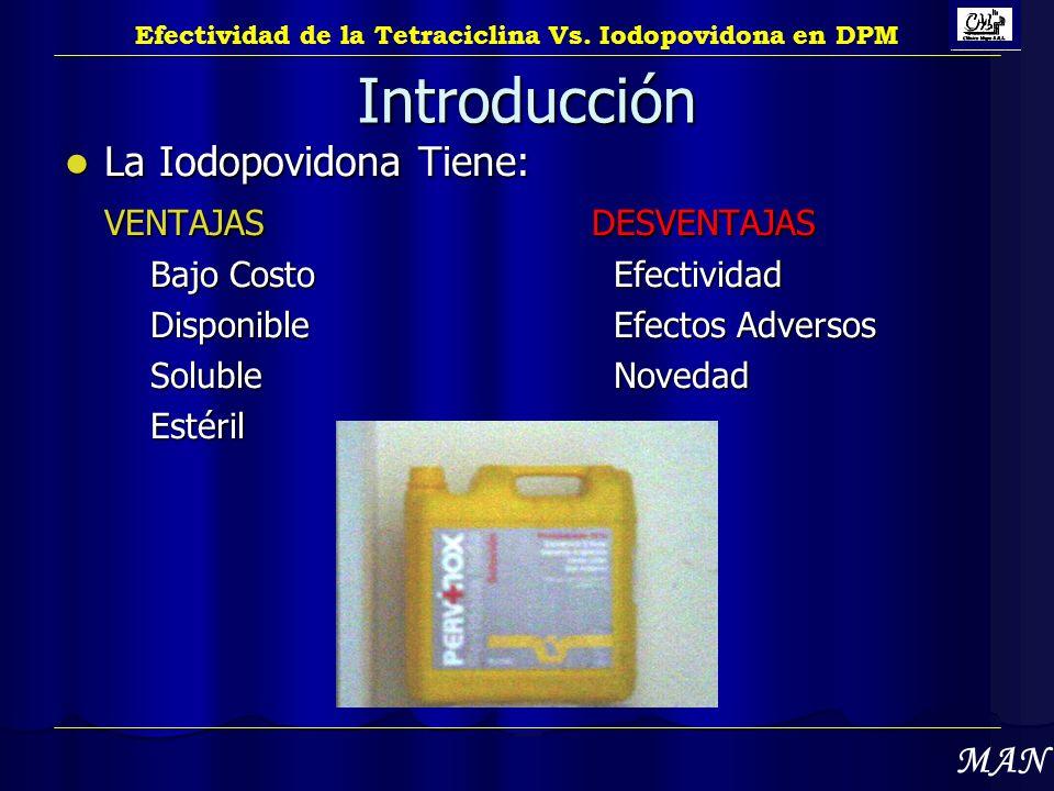 Introducción La Iodopovidona Tiene: VENTAJAS DESVENTAJAS MAN