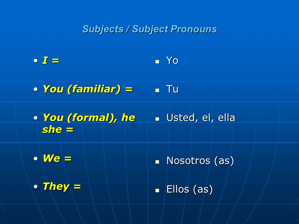 Subjects / Subject Pronouns