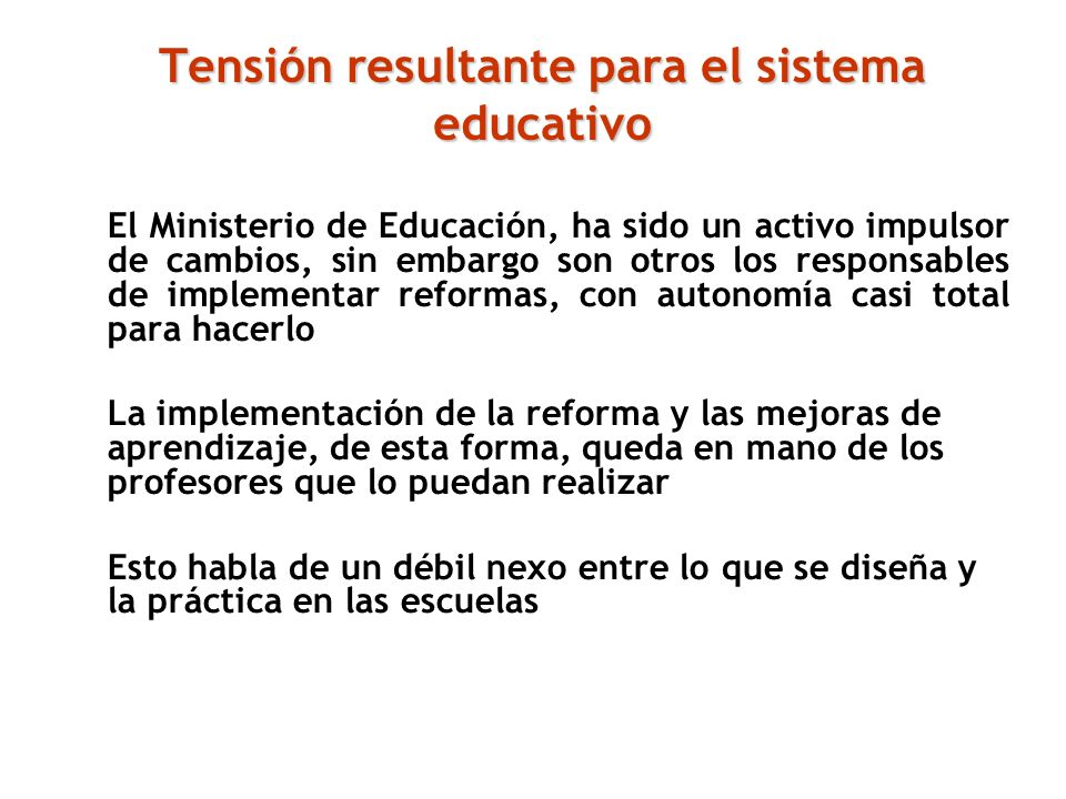 Tensión resultante para el sistema educativo