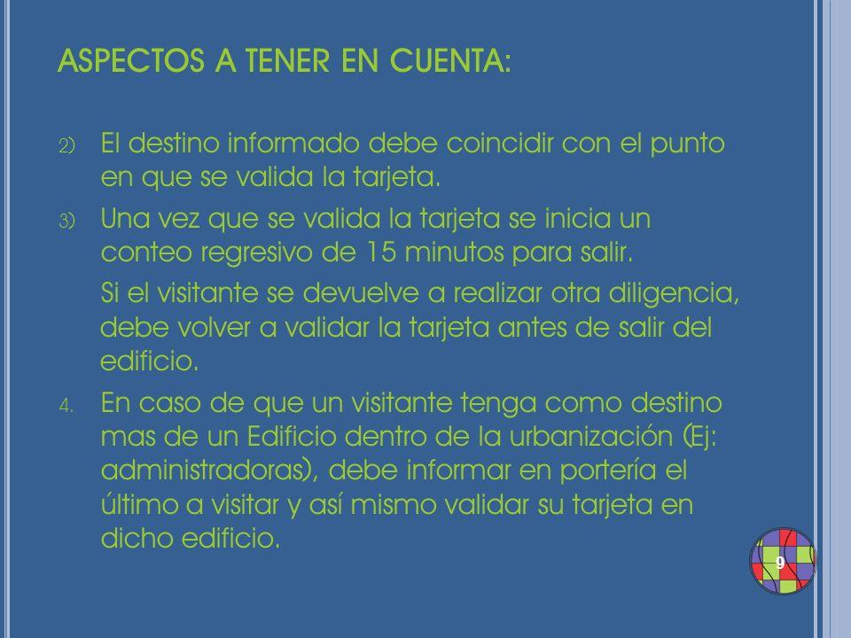 ASPECTOS A TENER EN CUENTA: