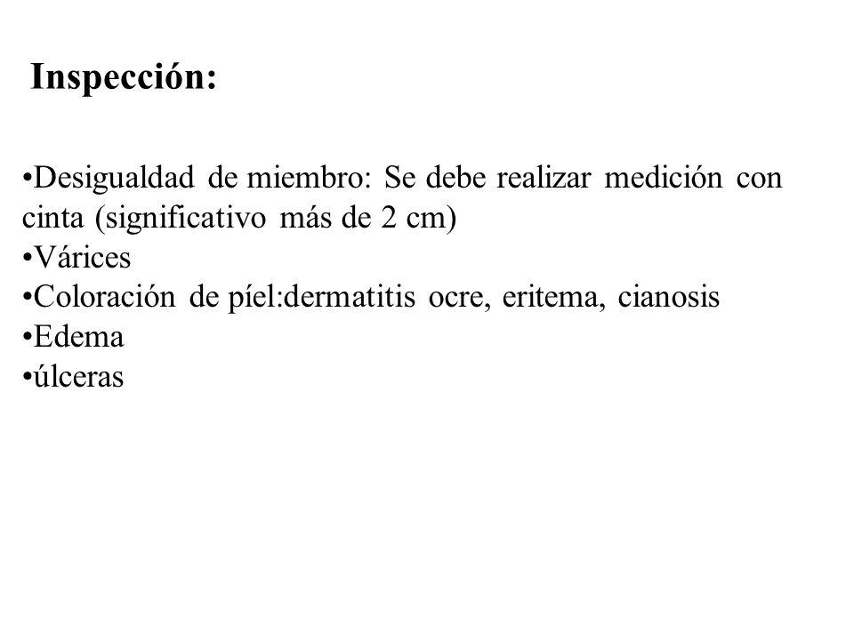 Inspección: Desigualdad de miembro: Se debe realizar medición con cinta (significativo más de 2 cm)