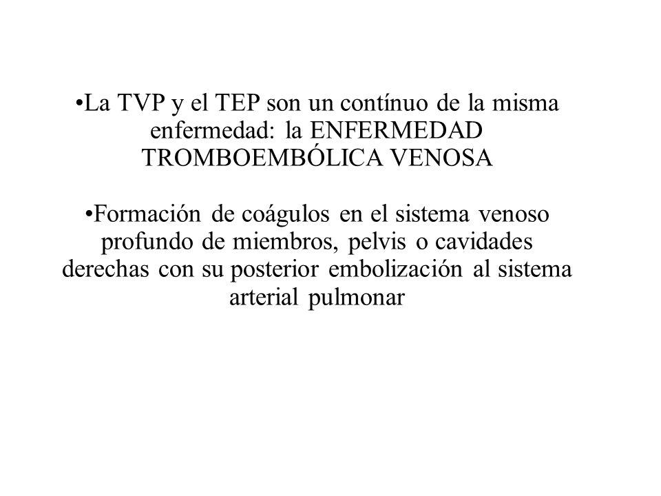 La TVP y el TEP son un contínuo de la misma enfermedad: la ENFERMEDAD TROMBOEMBÓLICA VENOSA