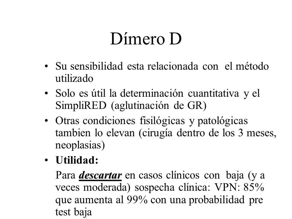 Dímero D Su sensibilidad esta relacionada con el método utilizado