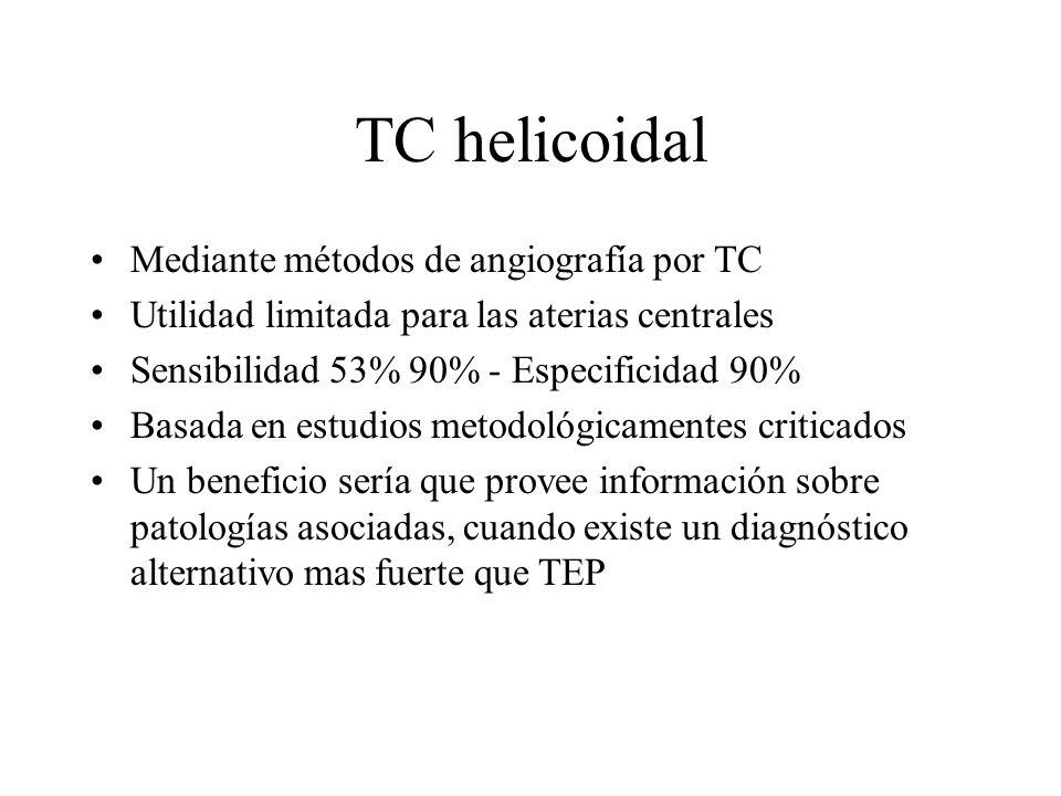 TC helicoidal Mediante métodos de angiografía por TC