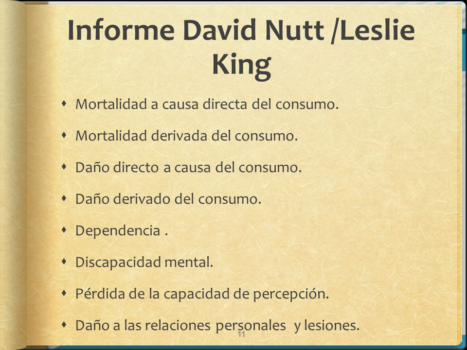 Informe David Nutt /Leslie King