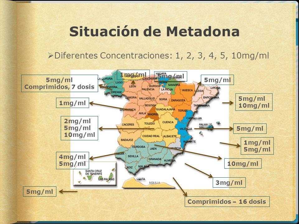 Situación de MetadonaDiferentes Concentraciones: 1, 2, 3, 4, 5, 10mg/ml. 1mg/ml. 5mg/ml. 5mg/ml. Comprimidos, 7 dosis.