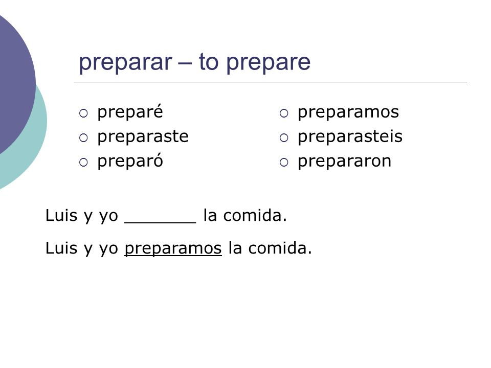 preparar – to prepare preparé preparaste preparó preparamos
