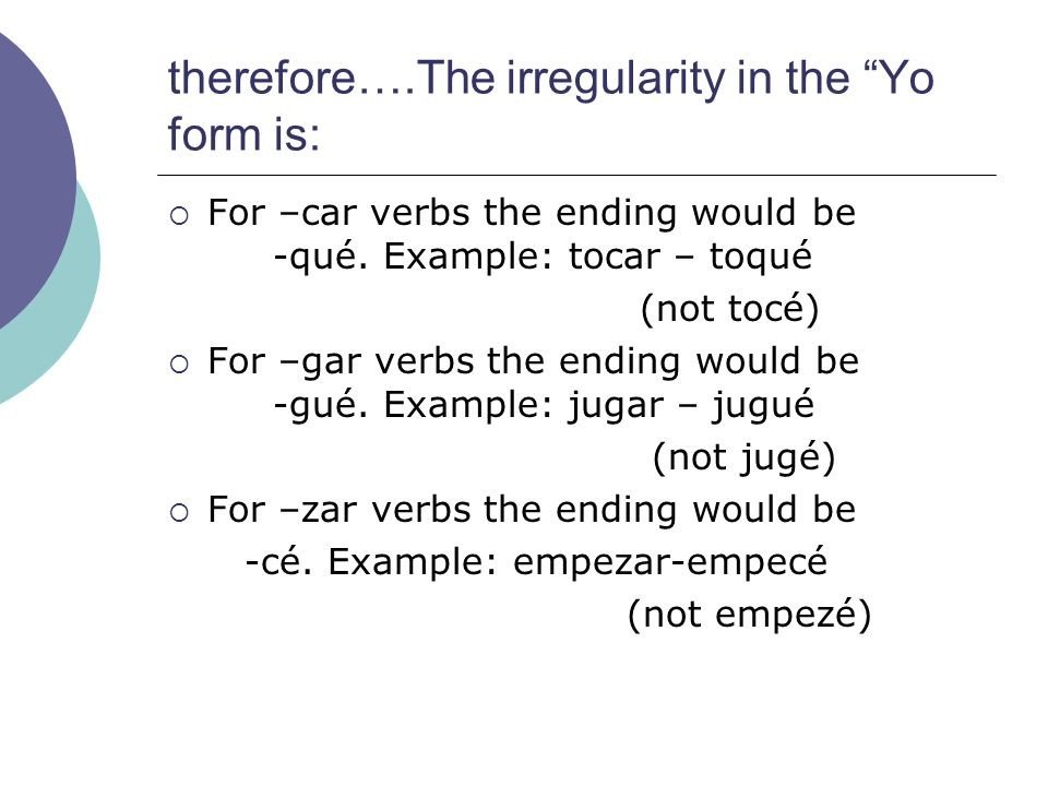 therefore….The irregularity in the Yo form is:
