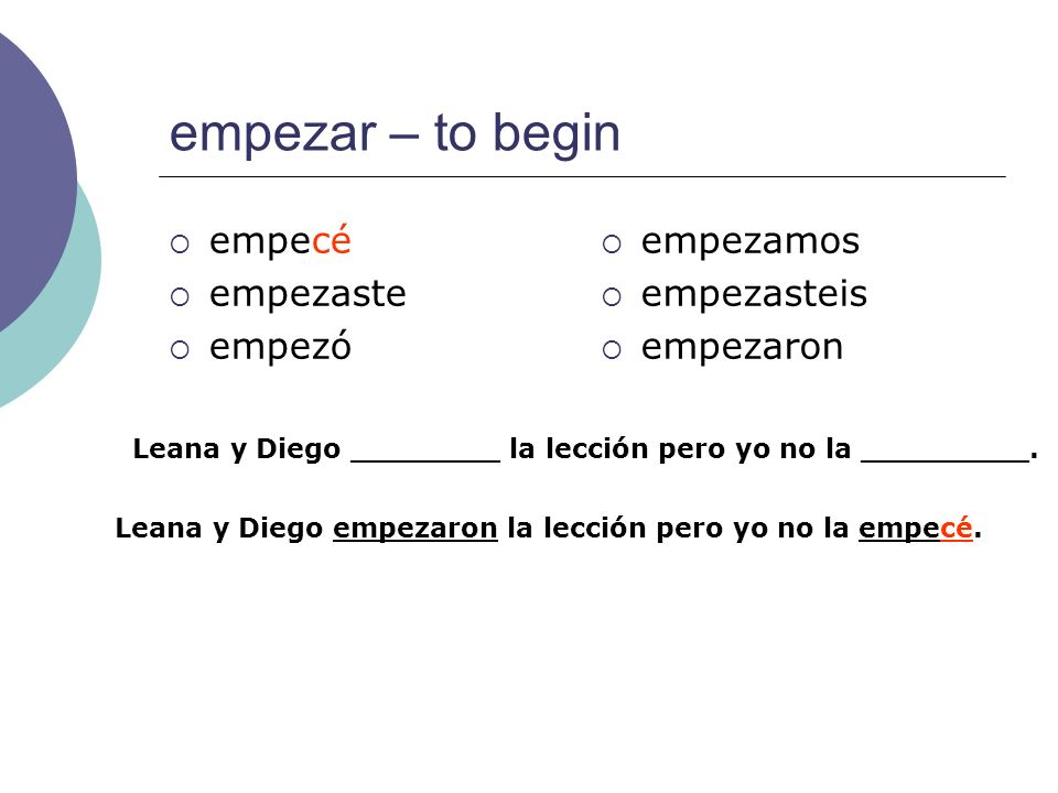 empezar – to begin empecé empezaste empezó empezamos empezasteis