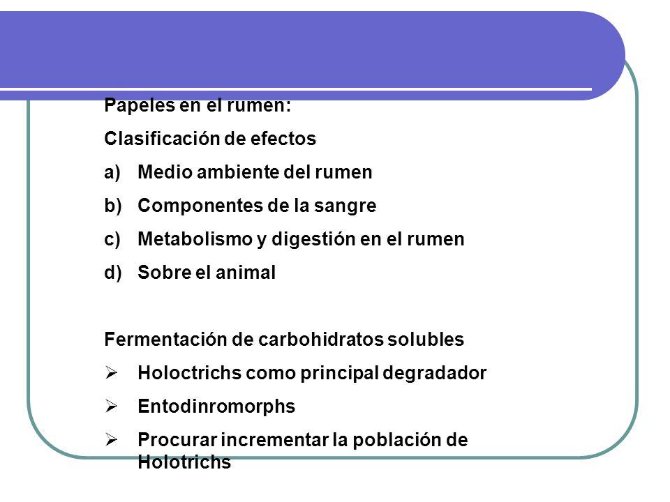 Papeles en el rumen: Clasificación de efectos. Medio ambiente del rumen. Componentes de la sangre.