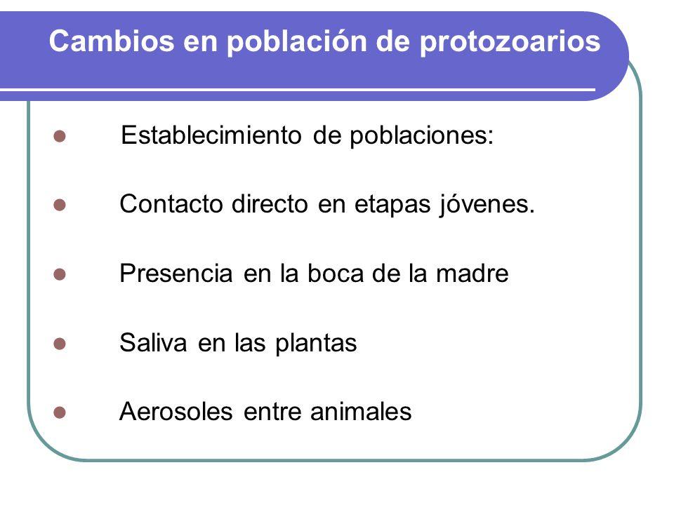 Cambios en población de protozoarios