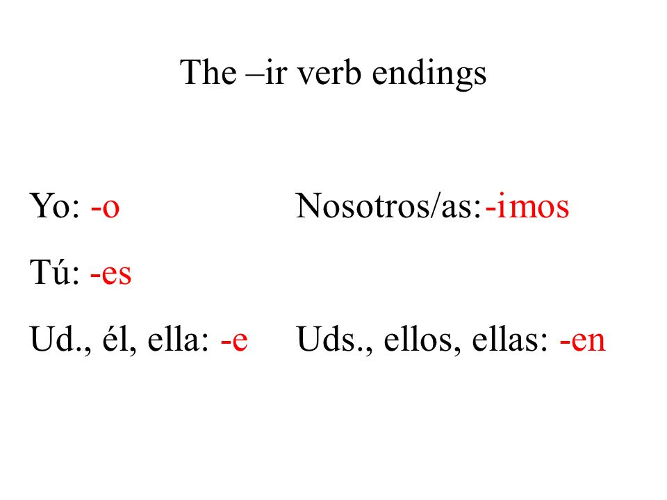 The –ir verb endings Yo: -o Nosotros/as: mos. Tú: -es. Ud., él, ella: -e Uds., ellos, ellas: -en.