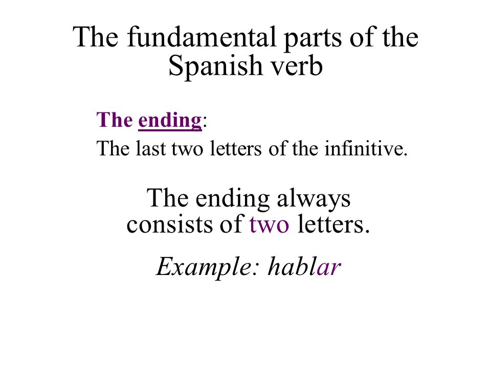The fundamental parts of the Spanish verb